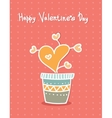 Hand drawn hearts in pot Cartoon style Greeting vector image