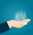 hand holding tangled thread vector image vector image
