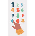 human finger is pushing numbers and symbols vector image