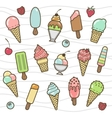 icon set yummy colored ice cream vector image vector image