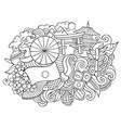 japan hand drawn cartoon doodles vector image vector image