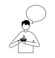 man holding coffee cup speech bubble vector image