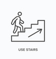 man walking upstairs flat line icon vector image