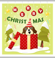 Merry Christmas Greeting Card with dog inside gift vector image vector image