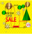 new year sale background with paper christmas tree vector image vector image