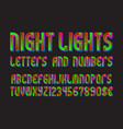 night lights font letters numbers with vector image