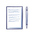 office paper icon and sharp pencil isolated vector image vector image
