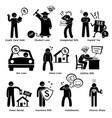 personal liabilities - debt loan bills taxes vector image
