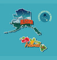 pictorial map of alaska and hawaii vector image