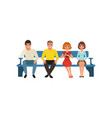 queue four people sitting on blue bench vector image vector image