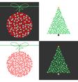 Red Christmas ball and green Christmas tree set vector image