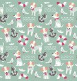 sailor terrier dog seamless pattern vector image