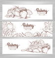 set of retro bakery banners bakery products vector image vector image