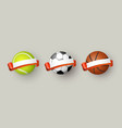 soccer tennis and basketball balls with ribbons vector image vector image
