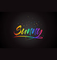 sunny word text with handwritten rainbow vibrant vector image vector image