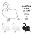 swan icon in cartoon style isolated on white vector image vector image