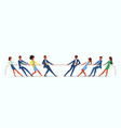 team war young people pulling rope employees vector image