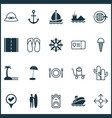 tourism icons set with yes mark restaurant vector image