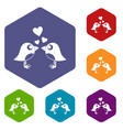 two birds with hearts icons set hexagon vector image vector image