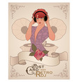 vintage postcard dj woman retro style with vector image