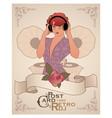 Vintage postcard dj woman retro style with