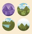 wanderlust label with landscapes set scenes vector image vector image