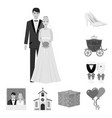 wedding and attributes monochrome icons in set vector image vector image