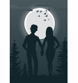 young couple looking at full moon vector image