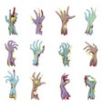 zombie hand set with gore vector image vector image