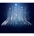 Blue neon lines and lights going up vector image