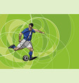 abstract image of soccer player with ball vector image vector image