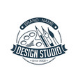 abstract stylish round design studio with brush vector image