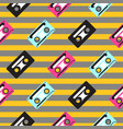 Audio casette striped seamless pattern