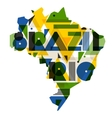 Brazil and Rio with map in abstract geometric vector image