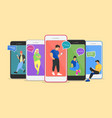 chat young people using mobile vector image vector image