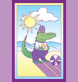 child with a crocodile boy vector image vector image