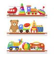 children toys on the shelves vector image