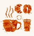 Coffee elements of watercolor stains vector image