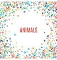 Colorful animal footprint ornament border isolated vector image vector image