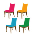 Colorful dining chairs on a white background vector image vector image