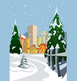 colorful winter city vector image