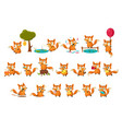 cute fox cub character doing different activities vector image vector image