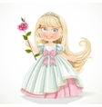 Cute little princess with long hair in tiara vector image