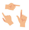 hand in forefinger icons holding pointing hands vector image