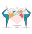 happy valentines day yoga couple of man and vector image