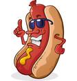 hot dog sunglasses cartoon character vector image vector image