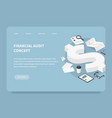 isometric financial landing page concept vector image vector image