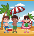 kids and beach cute cartoons vector image vector image