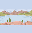 landscape with lake river rocky mountains scenery vector image