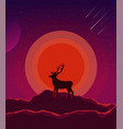 landscape with sunset planet and starry sky vector image vector image
